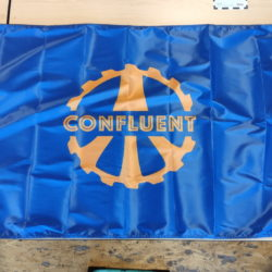Confluent logo nylon flag laid out in full